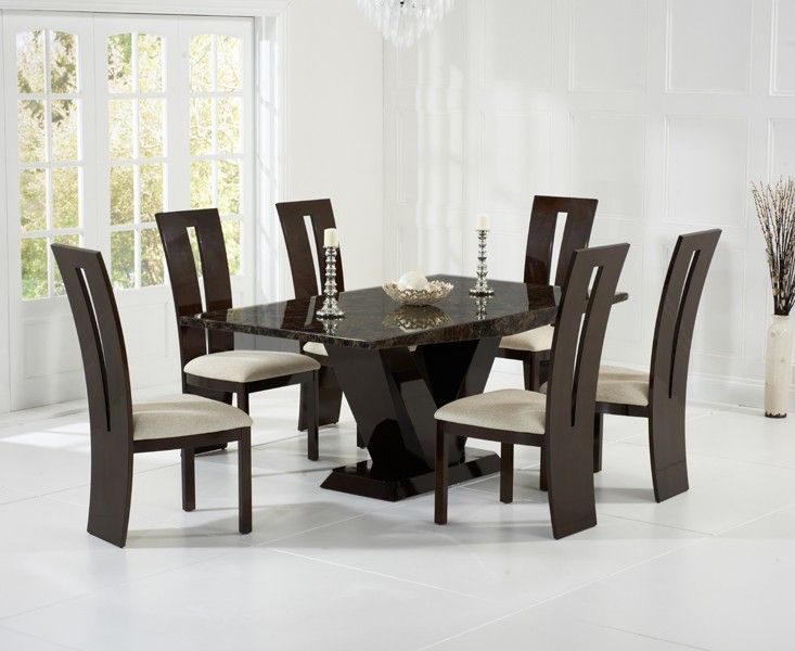 Valencie 180cm Brown Marble Dining Table amp Six Chairs : valencie 180cm brown marble dining table six chairs 2 70436 p from www.uniquechicfurniture.co.uk size 733 x 600 jpeg 54kB